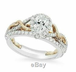 Disney Rapunzel Frame Twist 3.75CT Pear Diamond 925 Silver Engagement Ring+Gift