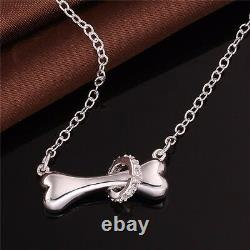 Dog Bone with Crystal Ring Necklace Jewelry Gift Puppy Pet Pendant Cute