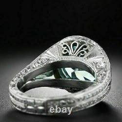 Early Retro Era Engagement Gift Fine Ring 2.29 Ct Aquamarine 925 Sterling Silver