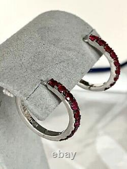 Effy Jewelry Ruby Huggies 925 Sterling Silver Earring 1.15 TWC/NEWithGift