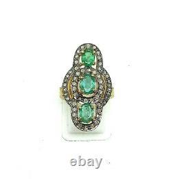 Emerald Gemstone 925 Sterling Silver Pave Diamond Ring Handmade Gift Jewelry