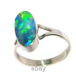 Emerald Green Gem Opal Inlay Silver Ring Free Re-Size 7 Gift Jewelry #D20