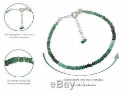 Emerald Sterling Silver Bracelet Fine Bangle Jewellery Women Anniversary Gift
