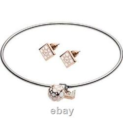 Emporio Armani Two Tone Silver Rose Plated Womens Jewellery Gift Set Egs2486040