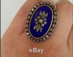 Estate 2.12ct Rose Cut Diamond 925 Sterling Silver & Enamel Ring Gift Jewelry