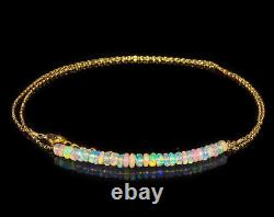 Ethiopian Opal Bar Necklace 925 Sterling Silver Women Jewelry Christmas Gift 18