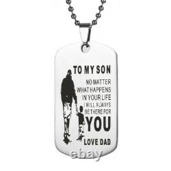 Father Son Pendant My Son I Will Always Be There for You Dog Tag Necklace Gift