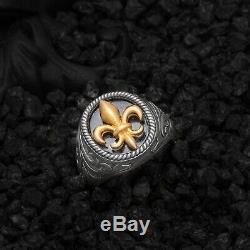 Fleur De Lis Ring Mens Signet Ring Sterling Silver Ring Fashion Man Jewelry Gift