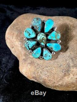 GORGEOUS Navajo Sterling Silver BLUE Turquoise Cluster Ring Sz 9 Gift 8676
