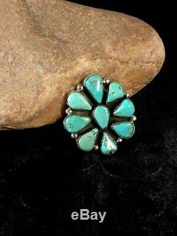 GORGEOUS Navajo Sterling Silver BlueTurquoise Cluster Ring Sz 7.75 Gift 8680