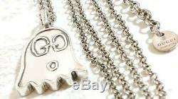 GUCCI Necklace Chain AUTH Logo Ghost series Silver 925 Gift Free Ship
