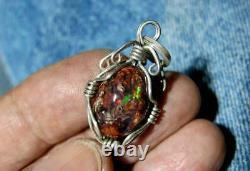 Gem Matrix Fire Opal Silver Healing Pendant Jewelry Gemstone Jewel Necklace Gift