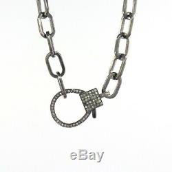 Genuine Diamond Pave Lobster Clasp Finding Oxidized Silver Necklace 22 inch O66