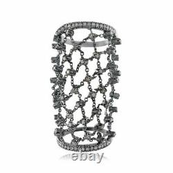 Genuine Pave Diamond Long Ring 925 Sterling Silver Handmade Jewelry Love Gifts