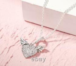 Gift Authentic Pandora Silver Necklace Heart And Angel Wings #398505c01 Boxed