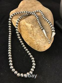 Gift Native American Navajo Pearls 6mm Sterling Silver Bead Necklace 21 Sale