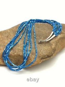 Gift Navajo Denim Lapis 10S Sterling Silver Tube Heishi Bead Necklace 19 3419