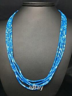 Gift Navajo Denim Lapis 10S Sterling Silver Tube Heishi Bead Necklace 19 3419