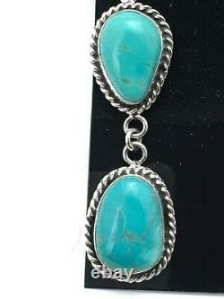 Gift Navajo Mountain Turquoise Sterling Silver Dangle Earrings Joe Set 2.2 4049