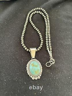Gift Navajo Pearls Sterling Silver DRY CREEK Turquoise Necklace Pendant 1178