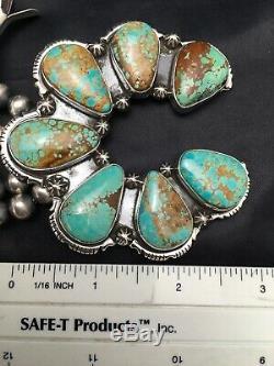 Gift Navajo Squash Blossom Naja Pendant Sterling Silver Turquoise #8 28in 3139