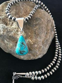 Gift Navajo Sterling Silver KINGMAN Turquoise Necklace Pendant A1268