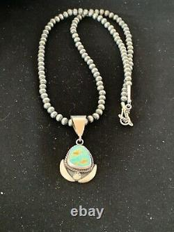 Gift Navajo Sterling Silver ROYSTON Turquoise Necklace Pendant Set 4016