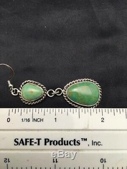 Gift Sale Navajo Royston Turquoise Sterling Silver Dangle Earrings Set 2 4074