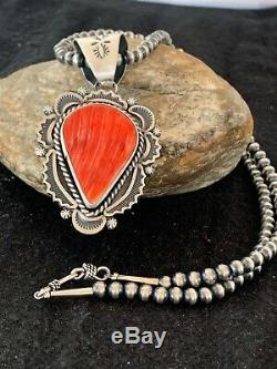 Gift Sale Navajo Sterling Silver Necklace Red SPINY OYSTER Pendant Set 4314