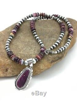Gift Women Navajo Sterling Silver Purple Spiny Oyster Necklace 22 Pendant 4737