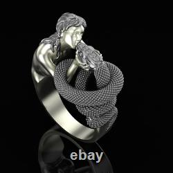 Girl kissing a snake ring 925 Sterling Silver Gothic jewelry love Handmade Gift