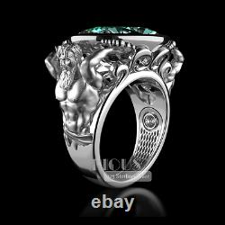 God Of Sea Oval Aquamarine stone Poseidon 925 Silver Men Women Ring gift