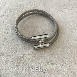 HERMES ACCESSORY Bracelet Tournis Leather Gray Silver AUTHENTIC GIFT FRANCE NEW