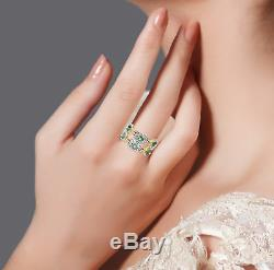 Halloween Gift Emerald Pave Diamond 18k Gold 925 Sterling Silver Ring Jewelry
