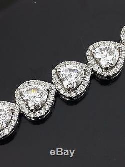 Heart round bracelet halo Tennis solid 925 sterling silver love White Women Gift