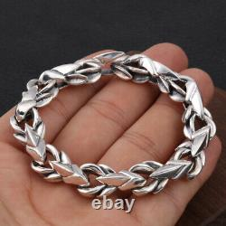 Heavy Mens S925 Sterling Silver 12MM Wide RETRO Singapore Chain Bracelet Gift
