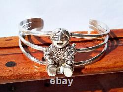 Heavy Vtg Sterling Silver Navajo Artisan Story Teller Cuff Gift Bracelet 7
