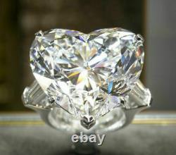 Huge 10ct Heart Shape Diamond Engagement 925 Silver Ring Gift for Valentine Love