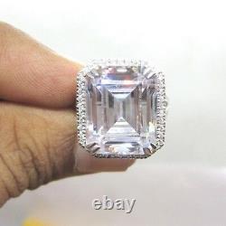 Huge 10ct Large Halo Emerald Cut Engagement Cocktail 925 Silver Ring Party Gift