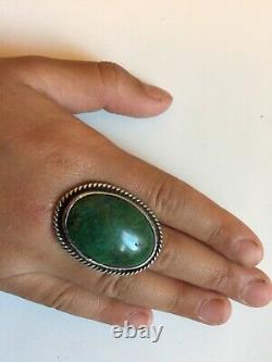 Huge 30s Dead Pawn Navajo GiftSterling Silver Green Turquoise RingSz6Free SHP