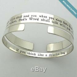 Inspirational Quote Cuff Bracelets. 2 Custom Sterling Silver Engraved Cuffs Gift