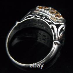 JOHN HARDY 18k Yellow Gold Sterling Silver 925 Citrine Gemstone Ring Estate Gift