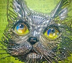 Jewelry Framed Silver Cat Portrait Art Gift Decor