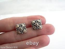 John Hardy Silver 18K Gold Jaisalmer Dots Square Earrings Studs Gift Love