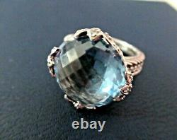 Judith Ripka Blue Crystal Diamonique Sterling Silver Ring Size 9 Gift Box Mint