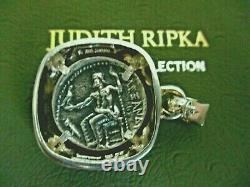 Judith Ripka Vintage Sterling Silver & Diamonique Coin Pendant Enhancer Gift Box