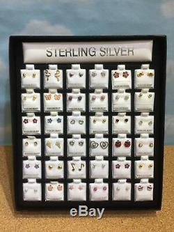 LOT 36 Lady Girl GENUINE 925 STERLING SILVER DESIGNER STUD EARRINGS Resell Gifts