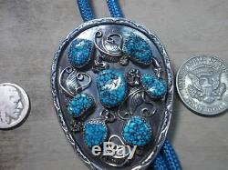 Lander blue turquoise, bolo tie sterling silver bag marked 1973 gift from eddi