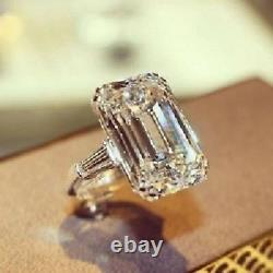 Large 15 CT White Emerald Cut Sterling 925 Silver Engagement Cocktail Ring Gift