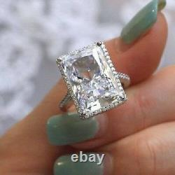 Large Halo 16CT White Emerald Cut Engagement Cocktail Ring Party 925 Silver Gift